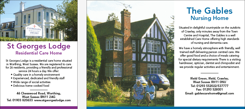 Example of quarter and half page house style advertisements